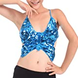 BellyLady Tribal Belly Dance Halter Sequin Bra With Pad, Bandage Butterfly Bra LAKEBLUE