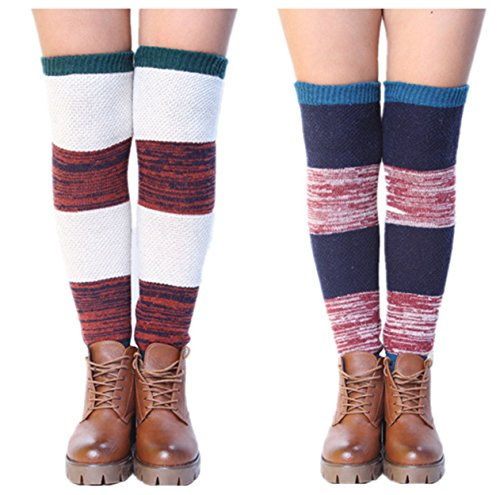 VIGVOG High Knee Legging Boot Socks Long Knitted Snowflake Deer Knitted Warm Long Leg Warmers (Dark blue & ()