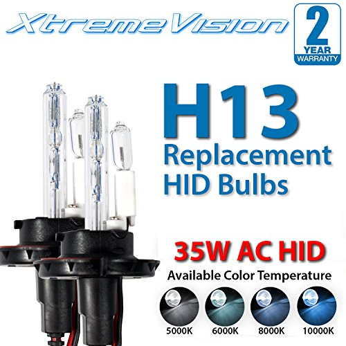 XtremeVision AC HID Xenon Replacement Bulbs - H13 / 9008 6000K - Light Blue (1 Pair) - 2 Year ()