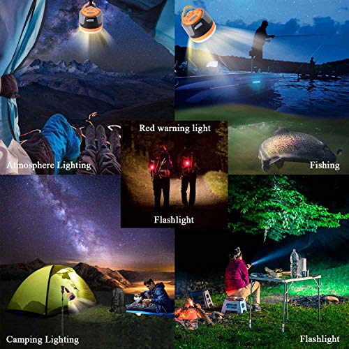 SULETAKE USB Rechargeable Camping Lantern, Waterproof Camping Lamp Flashlights, Power Bank Charger,Super Bright LED Tent Light - 7 Lighting Modes, Perfect for Hurricanes, Hiking, Riding, Fishing