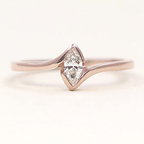 Amazon Com Marquise Diamond Solitaire Ring Diamond Engagement Ring Dainty Simple Diamond Band Diamond Wedding Ring Handmade