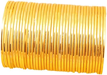 Touchstone New Golden Bangle Collection Indian Bollywood Alloy Metal Charming Look Textured Wrist Enhancing Designer Jewelry Bangle Bracelets Set of 36 for Women.