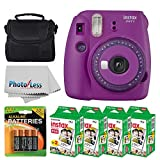 Fujifilm instax Mini 9 Instant Film Camera (Purple with Clear Accents) + Fujifilm Instax Mini Twin Pack Instant Film (80 Shots) + Camera Case + AA Batteries + Accessory Bundle
