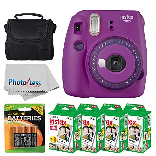 Fujifilm instax Mini 9 Instant Film Camera (Purple with Clear Accents) + Fujifilm Instax Mini Twin Pack Instant Film (80 Shots) + Camera Case + AA Batteries + Accessory ()