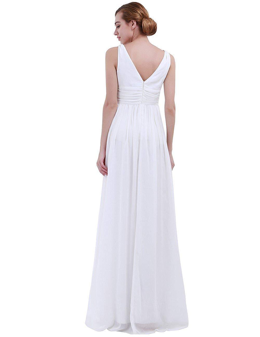 Blanc Taille UK 16     12 MJY Mode féminine sans hommeches col en V profond en mousseline de soie demoiselle d'honneur robe de soirée,corail,Taille UK 14     10