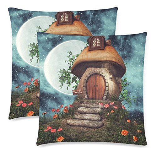 Brushed Canvas Mushroom - CHARMHOME Colorful Fairytale Mushroom Cottage 2-Pack Satin Pillow Covers Square Sofa Couch 16x16inch Pillowcase Brushed Microfiber Bedroom Cushion, Flowers and Ivy at Night