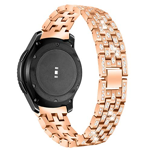 Businda Glitter Strap Compatible for Samsung Gear S3 Frontier/Classic Band 22mm,Galaxy Watch 46mm Stainless Rhinestone Bracelet Wristband Five Rows of Diamond Replacement Band (Gold) (Free Valentine Ca)