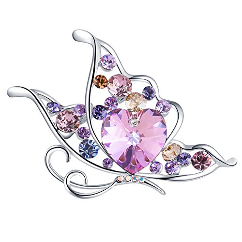 RAINBOW BOX Butterfly Heart Brooches, Crystal from Swarovski Jewelry Brooch Pins for Women Girlfriend Her Valentine Christmas Birthday Gift by RAINBOW BOX