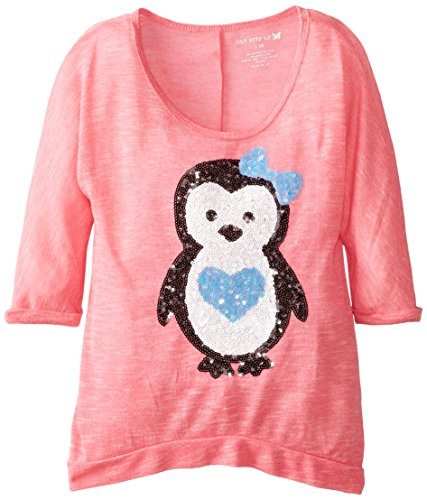 One Step Up Big Girls' Lightweight Sweater with Sequin Penguin, Coral Primrose, Large