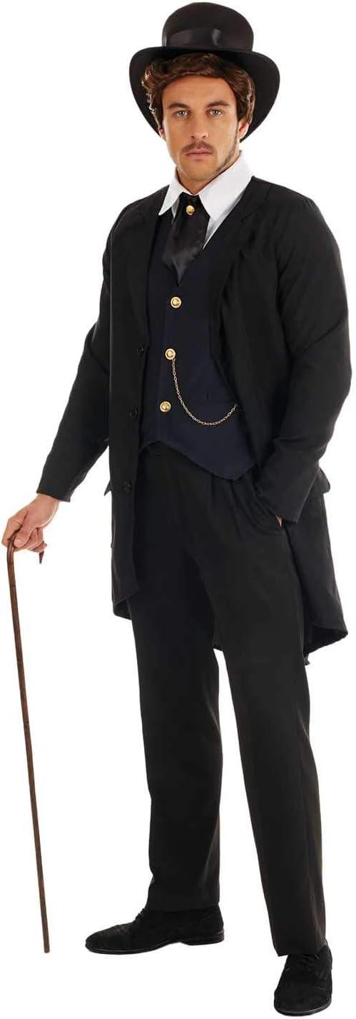 Fun Shack Negro Caballero Victoriano Disfraz para Hombres - M ...