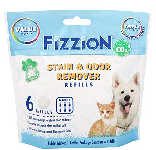 Remove Pet Stains Odors - Fizzion Pet Stain and Odor Eliminator Removes Pet Urine and Feces Safely with The Professional Cleaning Power of CO2 (6 Tablets, Original)