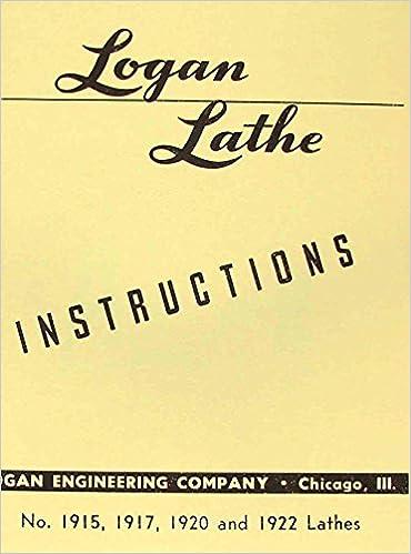 LOGAN 1915, 1917, 1920, and 1922 Lathes Instruction Manual: Misc.:  Amazon.com: BooksAmazon.com