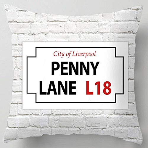 Lane Penny Sofa - Penny Lane Liverpool Street Sign Sofa Couch Chair Throw Pillow Case Cushion Cover Home Decor