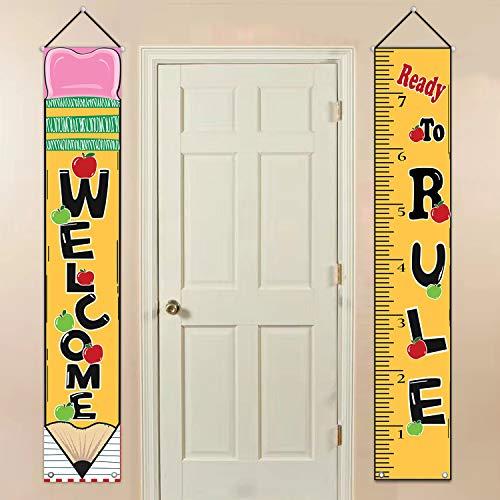- MORDUN Classroom Decorations - Back to School Supplies - Welcome Ready to Rule Hanging Fabric Banners Flags Sign - Classroom Decor for Teachers Preschool Kindergarten Door