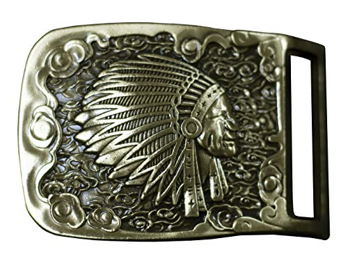 Warrior Belt Buckle - D'SHARK Native American Indian Warrior Casual Western Style Chief Solid Brass Belt Buckle for Men and Women (Indian Head 1)