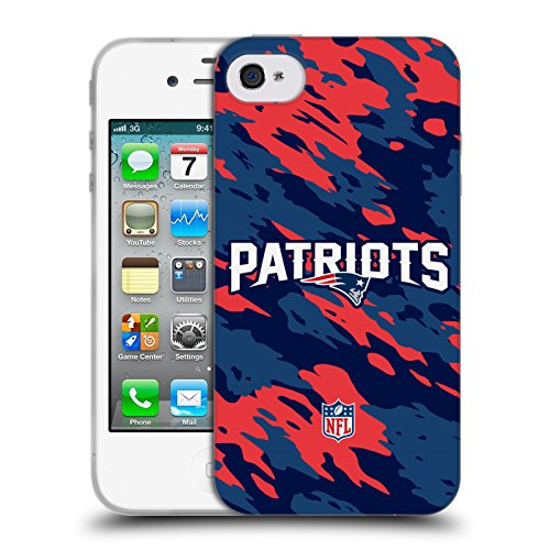 Official NFL Camou New England Patriots Logo Soft Gel Case for Apple iPhone 4 / 4S - Nfl Iphone 4 Case