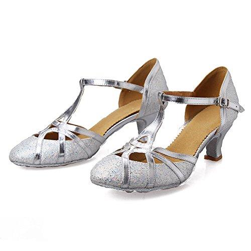 DECMJ51 1 YKXLM Silber Latein amp; Dance Modell Ballsaal Damen Ausgestelltes Tanzschuhe Standard Mädchen Schuhe PnPOAwqr4