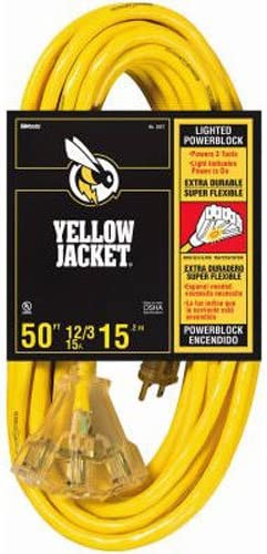 Yellow Jacket 2887 14//3 Heavy-Duty 15-Amp SJTW Contractor Extension Cord Lighted