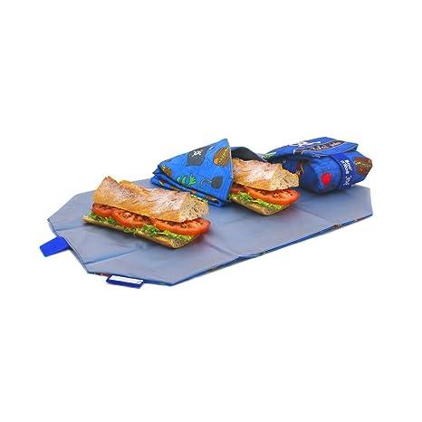 Rolleat BocnRoll, KIDS Piratas , Porta bocadillos reutilizable , bolsa merienda , funda bocadillo, Sin BPA, Azul