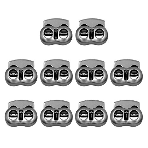 - MonkeyJack 10 Pieces / Pack Heavy Duty Gray Metal 2 Hole (7.35mm Dia) Bean Cord Locks Clamp Toggle Stop Slider for Paracord, Elastic Cord, Accessory Cordage, Drawstrings - Indoor/Outdoor Use