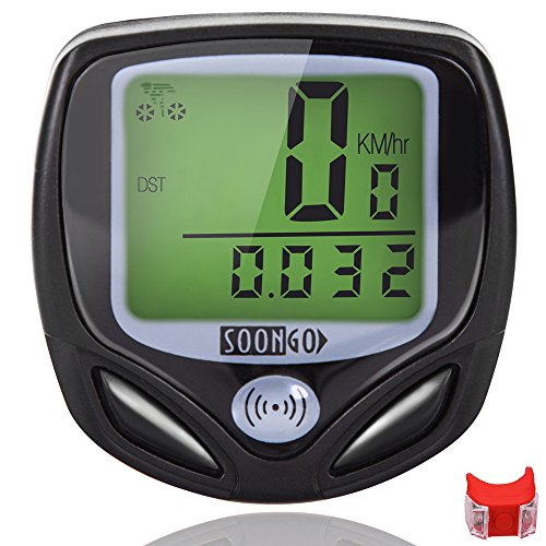Bike Computer Speedometer Wireless Waterproof Bicycle Odometer Cycle Computer Multi-Function Large LCD Back-light Display with Cycling Safety Flashlight by SOONGO