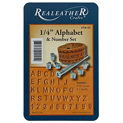 Craft County 1/4 Inch Metal Alphabet and Numbers Leather Stamp Set - 35 Stamps and 1 Handle - for Creating Bracelets, Art Pieces, and -