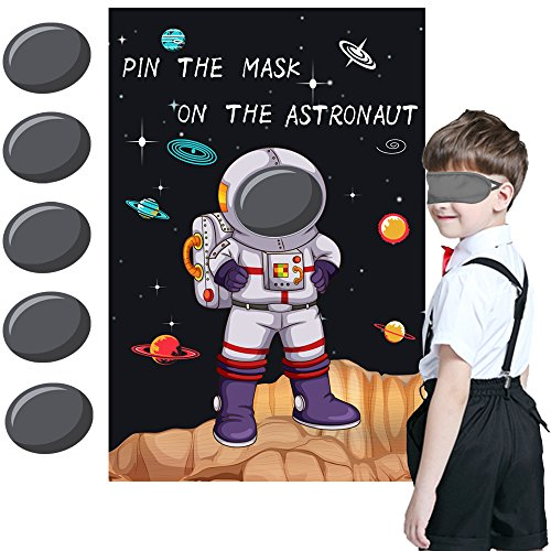 Pin the Mask on the Astronaut Game - Kids Solar System/Outer Space Birthday Party Supplies Decorations by CocoHut