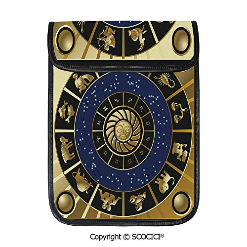 SCOCICI Tablet Sleeve Bag Case,Plaquet Seem Square Shape and Inner Details Zodiac Horoscope Symbol Decorative,Pouch Cover Cases for iPad Pro 12.9 in and Any Tablet