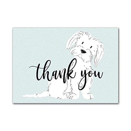(Set of 12 Thank You Notes and Envelopes with Watercolor Maltese Dog Puppy in Aqua Blue TYA003)