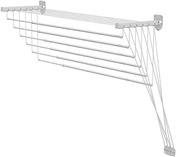 Stendibiancheria da Parete con Saliscendi LIFT 140 cm Bianco in acciaio trattato