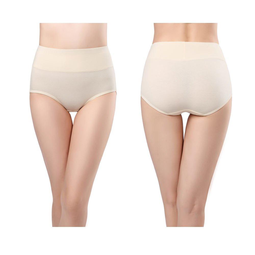 wirarpa Womens Cotton Underwear 4 Pack High Waist Briefs Light Tummy Control Ladies Comfort Stretch Panties Underpants Size XL,Multicoloured by wirarpa (Image #5)