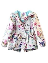 MOUSYA Girls Cartoon Graffiti Print Hooded Drawstring Waist Zippered Jacket Outerwear