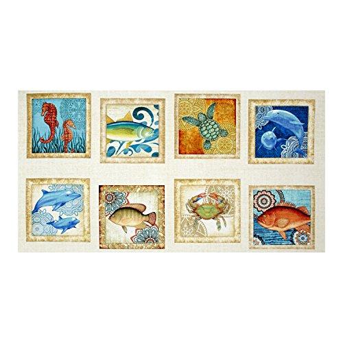 Ocean Fish Fabric - Quilting Treasures Ocean Oasis Large Fish Patch Multi Fabric