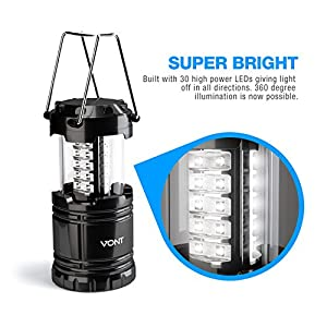 4 Pack LED Camping Lantern, Survival Kit for Hurricane, Emergency, Storm, Outages, Outdoor Portable Lantern, Black, Collapsible (Batteries Included) - Vont