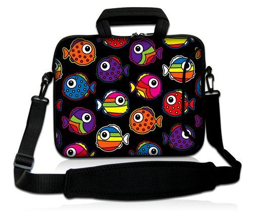 Luxburg® Design Funda bandolera Blanda Bolso Sleeve para Ordenador Portátil / MacBook de 17,3 pulgadas, motivo: Peces de colores Peces de colores