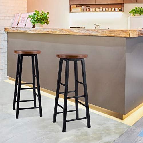 WOLTU Tavolo con 2 Sgabelli Alti Set Mobili da Bar Bancone per Cucina in Acciaio Legno Faggio Scuro BT27dc+BH130dc-2