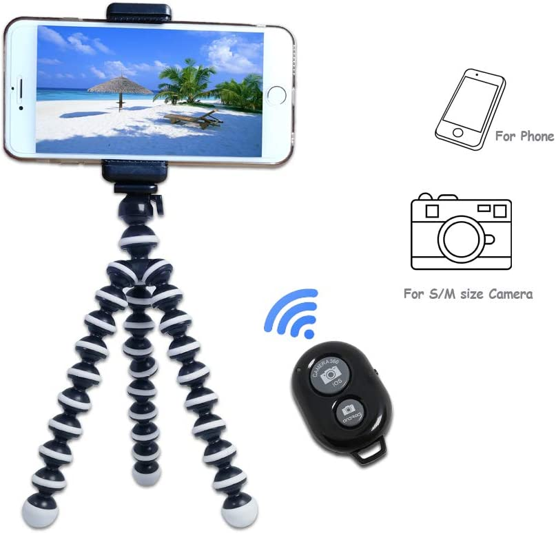 Kingneed Portable Flexible Cell Phone Octopus Tripod Phone Holder Selfie Tripod with Wireless Bluetooth Remote Shutte/Extendable Mount Holder: Camera & Photo