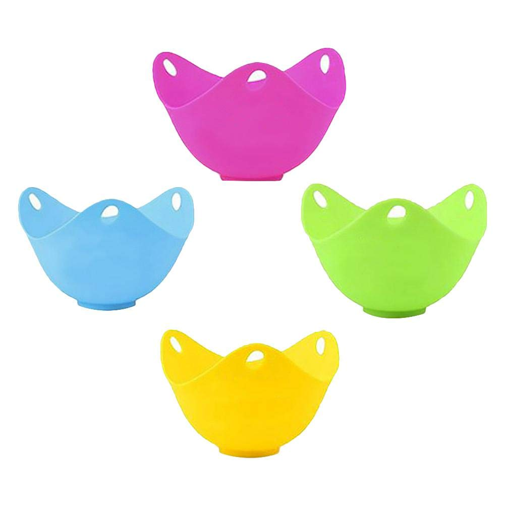 4-piece Non-Stick Egg Cooker High Temperature Steamed Egg Cooker Cup Set,For Microwave or Stovetop Egg Cooking Kbsin212 Silicone Egg Poacher Cups