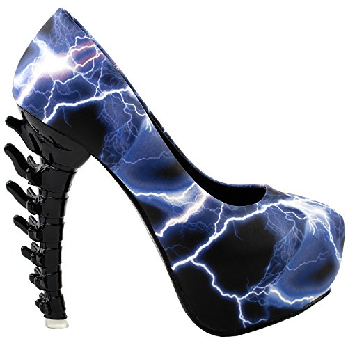 LF80610 Print Story Ladies Blue Show Club Platform Bone Skull Rose Pumps Heel Lightning Party UxZHHpqw