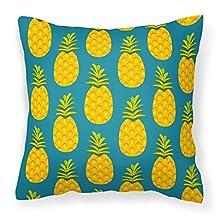 Caroline's Treasures BB5145PW1414 Pineapples on Teal Fabric Decorative Pillow, 14Hx14W, Multicolor