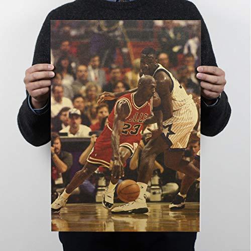 KGIDK Baloncesto Vintage Poster Michael Jordan Retro Paper Bulls ...