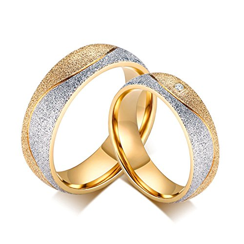 - Beydodo Stainless Steel Rings for Men and Women Women Size 13 & Men Size 9 Couples Rings Gold Matte Finished CZ
