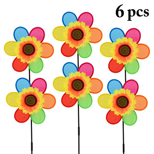(B bangcool Wind Spinners Sunflower Lawn Pinwheels Wind Spinner Windmills Wedding Party Pinwheel for Patio Lawn & Garden (6 Pcs))