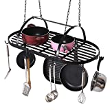 MyGift Ceiling Mounted Hanging Kitchen Pots & Pans Organizer Rack with 10 Removable Dual Hooks, Black