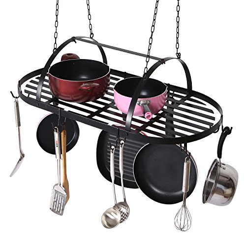 Mygift ceiling mounted hanging kitchen pots pans for Kitchen s hooks for pots and pans
