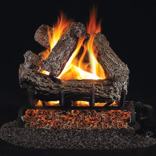 RealFyre Rustic Oak Gas Logs 24-in - Logs and G4 Burner Kit, Natural Gas