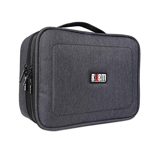 BUBM Electronic Organizer, Double Layer Travel Accessories Storage Bag for Cord, Adapter, Battery, Camera and More-a Sleeve Pouch for iPad or up to 9.7 Tablet(Large, Black)