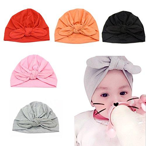 Baby Girl Soft Cotton Beanie Infant Floral Knot Cap Hospital Hat Kid Headwarp Turban (5pcs Knot Cap)
