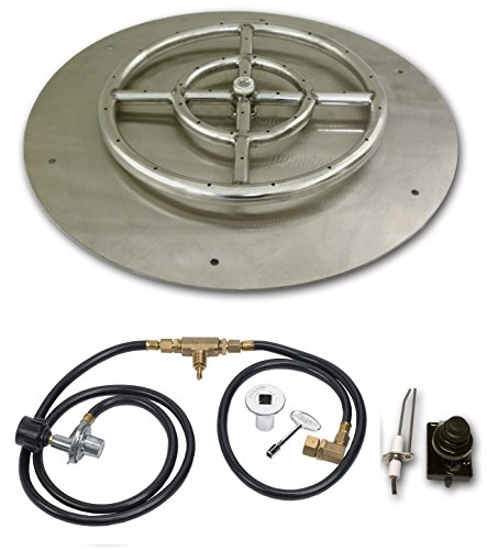 30 Inch Round Stainless Steel Flat Fire Pit Burner Pan - Natural ()