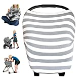 Baby 4 in 1 Car Seat Cover for Girls and Boys - Stretchy Carseat Canopy, Infinity Scarf, Grocery Cart Cover, Nursing Cover